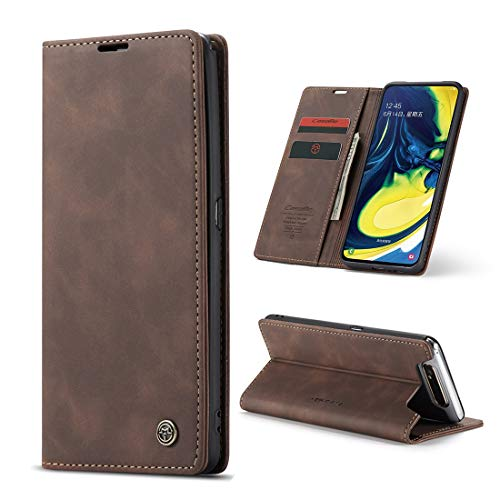 yanzi Hülle Samsung Galaxy A80 Handyhülle Flip Hülle Schutzhülle Samsung Galaxy A80 Premium Leder Tasche Kaffee Wallet Lederhülle Bumper Silikon Samsung A80 Cover Hülle