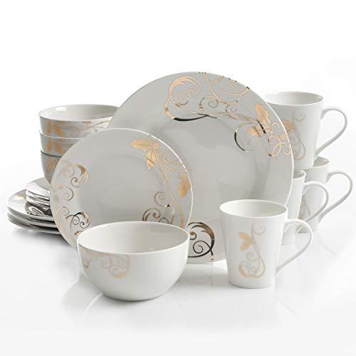 Gibson Gold 16 PC Dinnerware Set, Serving, Porcelain