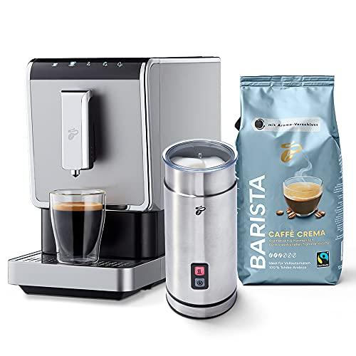 Tchibo Kaffee Vollautomat Esperto Caffè 1.1 (19 bar, 1470 Watt), Edelstahl Silber (inkl. elektr. Milchaufschäumer aus Edelstahl und 1Kg Barista Caffè Crema)