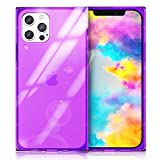 CloudValley Square Case for iPhone 12 Pro Max 6.7 inch, Square Cases TPU Reinforced Edges and Corners, Soft Rubber Gel Slim Fit Translucent Cover, Purple