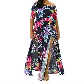 Dresses Material Quality Digital Printed One-piece Split Dress, Size:5XL(Navy Blue) (Color : Navy Blue, Size : 5XL)