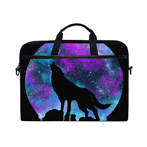 JOYPRINT Laptop Sleeve Case, Galaxy Star Moon Wolf Animal 14-14.5 inch Briefcase Messenger Notebook Computer Bag with Shoulder Strap Handle for Men Women Boy Girls