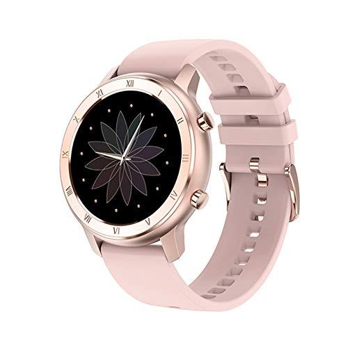 XUEXIU Smart Watch Full Touch Redondo Pantalla Redonda IP68 a Prueba De Agua SmartWatch Women para Android iOS Teléfono Hombres Reloj (Color : Silicon Pink)