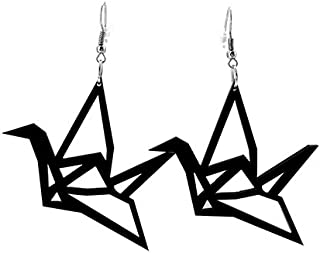 COLORFUL BLING Big Acrylic Origami crane dangle earrings bird jewelry personality for women girls