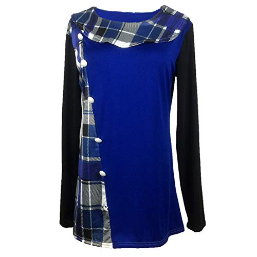 FIDOZ Womens Long Sleeve Check Color Block Elegant Basic Party Tunic Tops Blouse T-Shirt Women's Casual Crew Neck Buttons Plaid Oversized Shirts Sweatshirt Pullover Jumper for Autumn Winter Blue