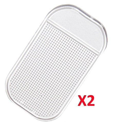 Lot de 2 Supports antidérapants Tableau de Bord 2 Pads Tapis Adhésifs anti-glisse silicone pour portable monnaie clés (transparent)