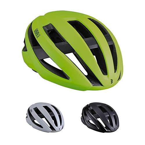 BBB - Casco da ciclismo unisex Maestro BHE-10 per bici da strada, leggero, regolabile, protezione di sicurezza, certificato CE, da uomo, donna, giallo fluo, taglia S (52-55 cm), S