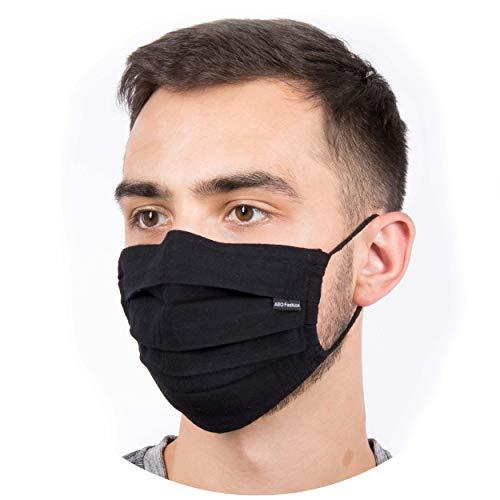 Hochwertige Sommermaske - Atmungsaktiv | Viele Farben | 90° wasch- kochbar | 1-lagig 100% BW | bequemer anpassbarer Gummi | Nasenbügel | Stoffmaske | Behelfsmaske | Alltagsmaske | Mundschutz (Schwarz)