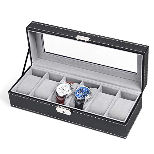 NEX 6 Slot Leather Watch Box Display Case Organizer Glass Jewelry Storage Black