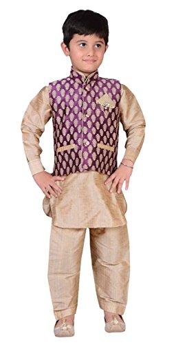 Indian Boys Boda Sherwani niños Kurta Pijama Chaleco Bollywood Partido 873 (2 años, Vino con Oro)