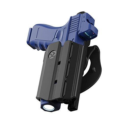 Orpaz Glock 19 Holster with Light, Glock 19 Light Bearing Holster with Paddle Attachment Compatible with Glock 19 Light/Laser/Sight/Optics