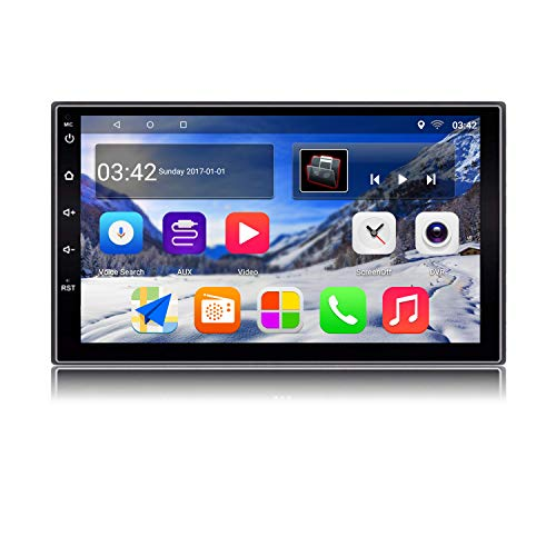 KKXXX KX018 Android 7.1 Car Stereo GPS Navigation Auto Radio AM FM RDS 2 Din Head Unit 1GB RAM 16GB ROM Mirror Link Steering Wheel Control BT Wi-FI Audio Player USB Port 7 inch Touch Screen