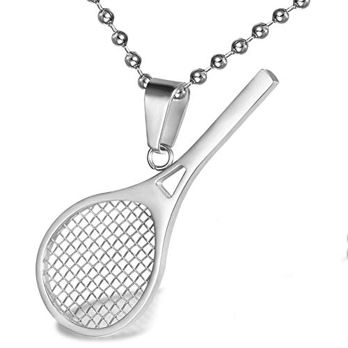AILUOR Collana con ciondolo a forma di racchetta da tennis in acciaio inossidabile Smashing Racchetta e palla Ciondolo da tennis con ciondolo sportivo semplice Regalo perfetto per lui o lei (Argento)