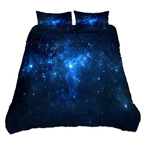 WENYA Galaxia 3D Planeta Juego de Cama Funda nórdica y Funda de Almohada, Ropa de Cama Azul Violeta Negro Funda nórdica Misterioso Universo Fantasía Cielo Estrellado (Galaxia 1, Cama 135 cm)