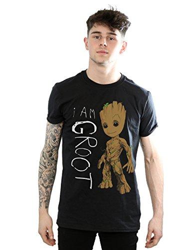 Marvel Guardianes de la Galaxia de los hombres, soy Groot Scribbles Camiseta XXX-Large Black