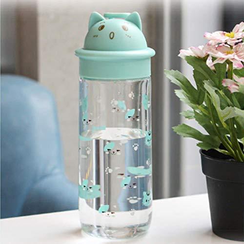 Botella de agua con forma de gato de dibujos animados lindo portátil de gran capacidad adecuada para deportes al aire libre taza de plástico transparente 500 ml