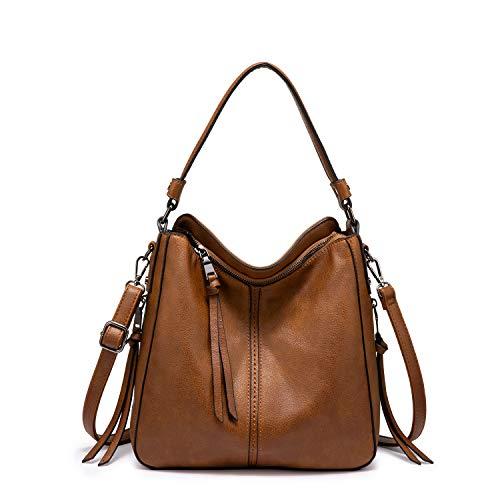 Realer Handtaschen Damen Lederimitat Umhängetasche Designer Taschen Hobo Taschen groß Mit Quasten Braun Kleine Größe