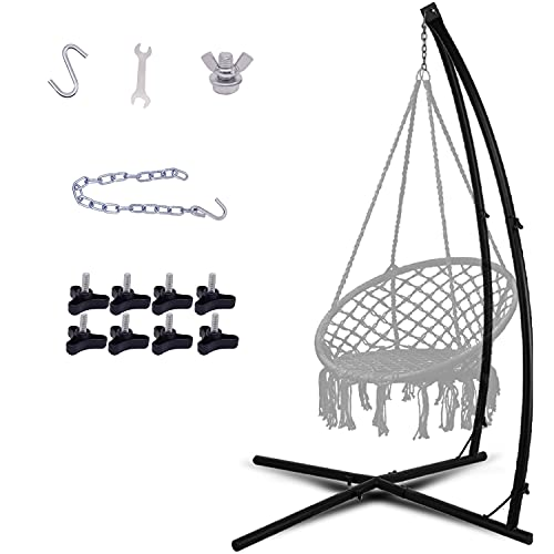 LAZZO C-Type Hammock Chair Stand,Heavy Duty Steel Solid Hammock Rack Stand,Adjustable Height,for...