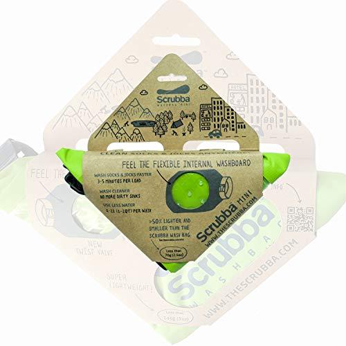 Scrubba Mini Bolsa de Lavado Ultra-compacta Bolsa de Lavandería Ideal para Viajes, Camping y Senderismo | Lavadora Portátil y Bolsa Seca, Esencial de Viaje Debe Tener Verde Pequeño