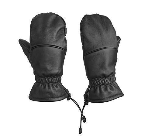 Fünf Finger Fäustling Leder: Hybrid Handschuh - Unisex - Bestes Material - ideal für Freizeit & Sport (L)