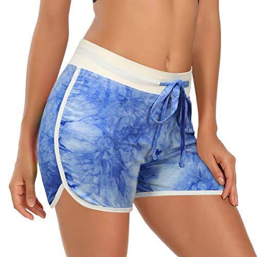 HDE Damen Retro Fashion Dolphin Running Workout Shorts - Blau - XX-Large
