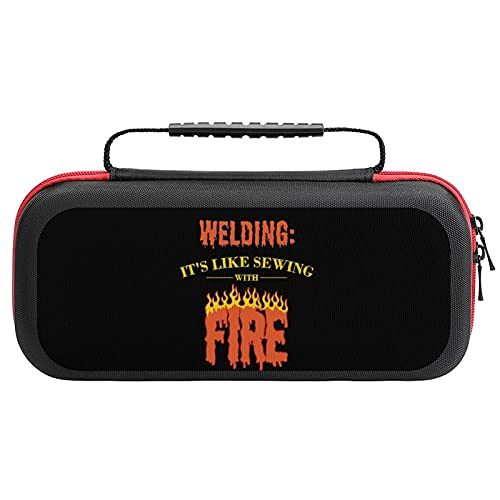 Welding It's Like Sewing With Fire Travel Carrying Case Tote Bag For Nintendo Switch Accessories Holds 20 Game Card Bag