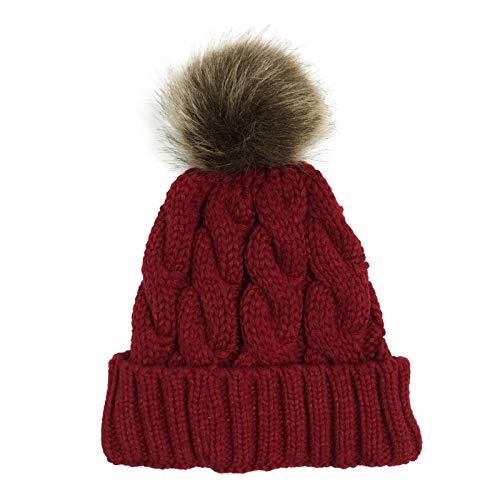 Sombreros de punto Skullcap Winter Retro Sombreros de invierno copete mujeres del cráneo gorrita tejida con la piel de imitación Bobble Pom Skullies Beaines Slouch de punto holgado Moda del capo Skull
