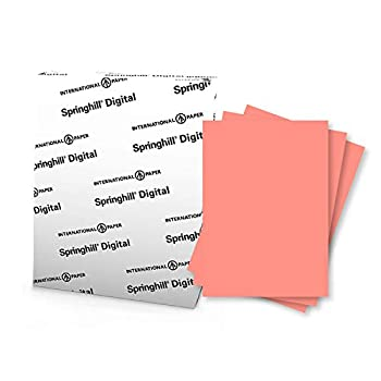 """Springhill 8.5"""" x 11"""" Salmon Colored Cardstock Paper 90lb 163gsm 250 Sheets  1 Ream  – Premium Lightweight Cardstock Printer Paper with Smooth Finish for Cards Flyers Scrapbooking & More – 085100R"""