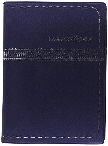 LA SAINTE BIBLE - BIBLE SEGONS 1910 (COUVERTURE VINYLE BLEU MARINE EMBOSSAGE ARGENT)