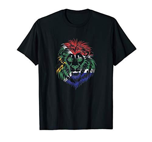 Löwe Südafrika   Afrikanische Flagge   Wilde Safari T-Shirt