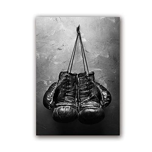 Hängende Boxhandschuhe des nordischen modernen Stils Schwarzweiss-Leinwandplakat Wohnzimmerdekoration 40x60cm
