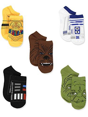 Star Wars Boys 5 pack No Show Socks, Black/Multi, Size 6-8 Boys (Shoe: 10.5-4)