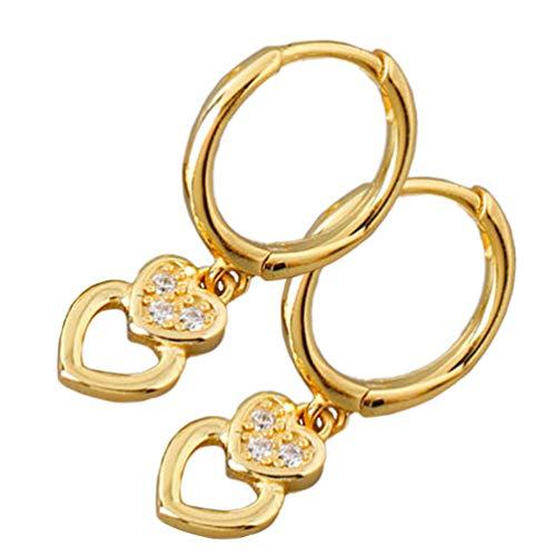 Amosfun Pendientes de aro con colgante de corazón con brillantes y círculo para mujeres, niñas, fiestas, bodas, disfraces, San Valentín, regalo (dorado)