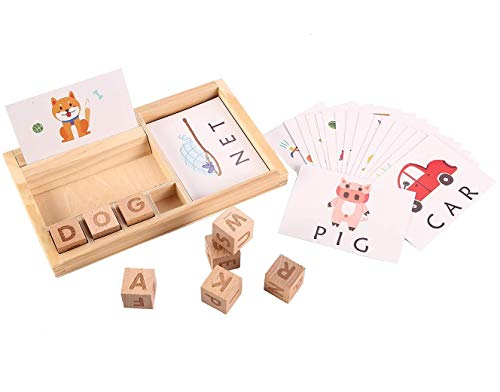 Joqutoys Wooden Educational Toys Learning Matching Letter Games and Develops Alphabet Words Spelling Skills Letter Block for Girls Boys Gift(30pcs Cards)