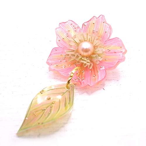 [ゆたむすび] プラバンレジン・お花のピンバッチ ピンク de-69-yu-34