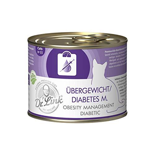 Dr. Link Spezial-Diät Übergewicht/Diabetes mellitus I Obesity Management/Diabetic Geflügel und Rind |6 x 200 g | Nassfutter für Katzen
