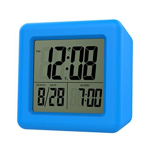 MoKo Digital Wecker, Wecker Alarm Tisch Nachttisch LCD Display Batteriebetriebene Kleine Uhr mit...