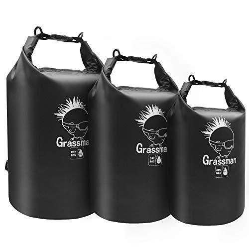 Grassman Waterproof Dry Bag, 500D Ripstop PVC Dry Storage Bag, Lightweight 3 Packs Dry Bag for...