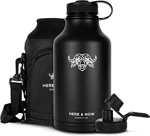 Growler for Beer & Water | 64 oz Double Wall Vacuum Insulated Stainless Steel Thermos Bottle | Jug for Hot & Cold Beverages | Carry Case with Pocket Included | by Here & Now Supply Co. (Black)