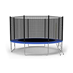10 FT Trampoline features 2.4ft high safety enclosure and heavy gauge galvanized rust resistance steel construction,includes 4 W-shaped legs for enough stability and support 8 foam padded poles support UV-proof safety trampoline enclosures for maximu...