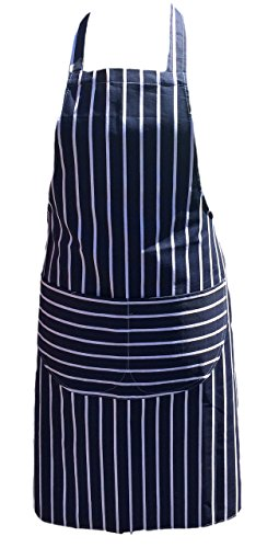 Discounted Cleaning Supplies Chefs Apron Professional Quality Blue & White Butchers Kitchen Cooks...