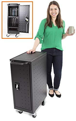 Line Leader Compact Mobile Charging Cart for Chromebooks, Laptops, Tablets and More - Charges and Stores 16 Devices - Includes Power Strip and Locking...