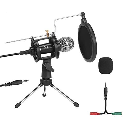 USB Kondensator Mikrofon, PEMOTech PC Mikrofon Plug & Play Podcast Aufnahme Mikrofon mit Soundkartenstativ und Pop-Filter für YouTube, Facebook, Computer, Laptop, MAC Karaoke, Gaming, Chatten