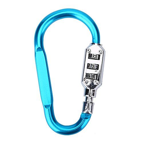 Filfeel D Candado Combinacion Seguridad Mosquetón de Aluminio diseñado para Mochilas, Bolsas de Viaje, Bolsas Deportivas(Azul)