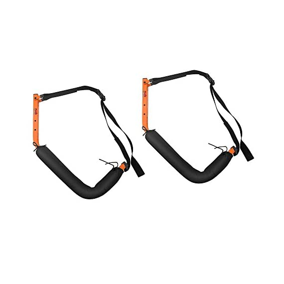 Kayak Storage Hooks – Wall Mount Garage Hangers with 125 lb Capacity for Kayaks or Paddleboards by Rad Sportz 4 KAYAK WALL MOUNT – The hangers provide an easy way to mount your kayak or paddleboard neatly on the wall of your garage or shed SECURE STORAGE – Constructed from sturdy powder coated steel, and equipped with nylon holding straps and clips, the hooks can be mounted right into your wall studs to safely store equipment up to 125-pounds FOAM PADDED HOOKS – The hooks are designed with a foam padding to protect your kayak or sporting equipment from scratches