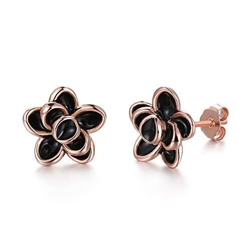 GEMSME 925 Sterling Silver Black Flower Cute Stud Earrings Classic Elegant Hypoallergenic Jewelry for Women