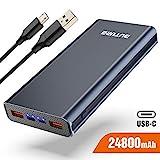 BuTure Batterie Externe, 24800mAh Power Bank Charge Rapide 3.0 USB-C 18W Batterie de Secours, avec 3 Sorties et 2 Entrées pour iPhone, Sumsung, Tablettes, etc
