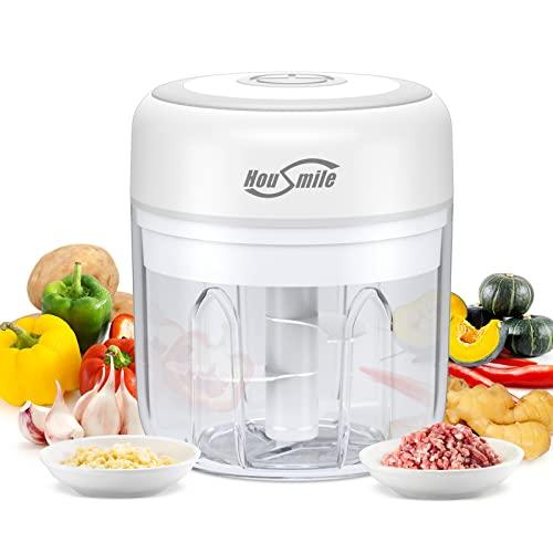 Housmile Elektrisch Zerkleinerer, Mini Multizerkleinerer Küchenmaschine mit Doppelbecher zweischneidig,küchenhelfer,100ML/250ML Gemüsezerkleinerer für Fleisch, Gemüse, Babynahrung
