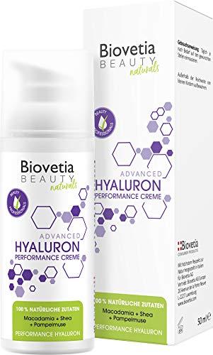 Biovetia Beauty Hyaluron Creme gegen Falten *DERMATEST URTEIL: SEHR GUT* 100% natürliche Hyaluron Creme Anti Aging gegen Falten, DERMATOLOGISCH GETESTET IN DEUTSCHLAND* Anti Aging Booster, 50ml