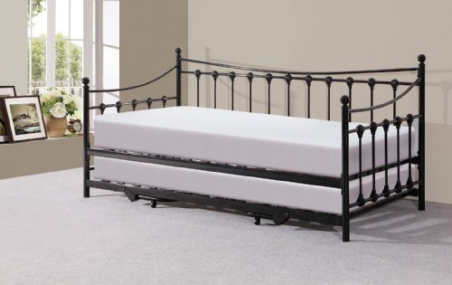 Right Deals UK Memphis 3ft Single Day Bed Trundle - Ivory Black (Black)